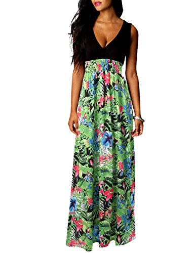 Floral Tank Long Sleeveless Dasior Women's Dress Maxi Empire Green Print Waist qB1Kwf74wE