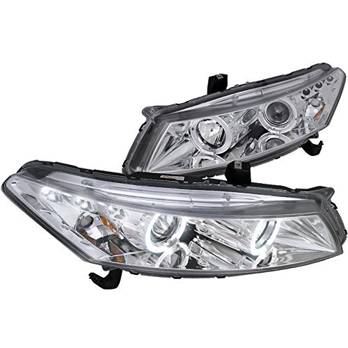 (Spec-D Tuning 2LHP-ACD082-TM Honda Accord Dual Halo Led Chrome 2Dr Coupe Projector Headlights)