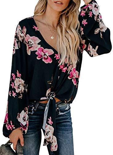 Juniors Tie - Women Floral Print Ladies Juniors Summer Long Sleeve Ruffle Tee Tops Ladies Tie Knot Blouse Tunics X-Large 16 18 Rose