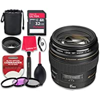 Canon EF 85mm f/1.8 USM Lens with 32GB Ultra Pro Speed Class 10 SDHC Memory Card + 3pc Filter Kit (UV-FLD-CPL) + Deluxe Sleeve + Celltime Microfiber Cleaning Cloth - International Version