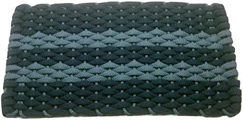 Rockport Rope Doormats 2034362 Indoor Outdoor Doormats, 20 by 34 , Navy with 2 Light Blue Stripes