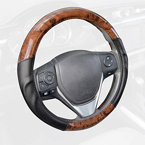 BDK ACDelco Compatible Car Steering Wheel Cover Replacement Cover for 14.5 to 15.5 Wheel Standard Size, Synth Leather Dark Wood Burlwood