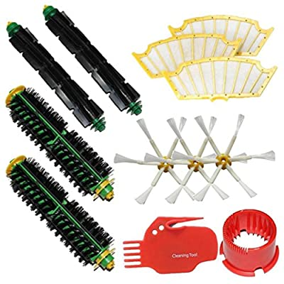 Paymenow Vacuum Cleaner Replacement Parts with Brush Cleaning Tools,2 Bristle Brushes,2 Flexible Beater Brushes,3 Side Brushes,3 Filters for iRobot Roomba 500 Series 510,530, 535,540,560,570,580,610