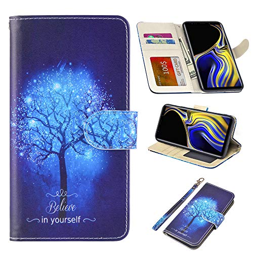 UrSpeedtekLive Samsung Galaxy Note 9 Case, Galaxy Note 9 Premium PU Leather Wristlet Flip Wallet Case Cover with Card Slots & Stand-Believe in Yourself