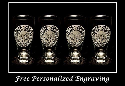 Celtic Wolf Pint Glass Set of 4 - Free Personalized Engraving, Wolf Decor, Celtic Wedding, Pub glass, Anniversary Gift Celtic Wedding Set