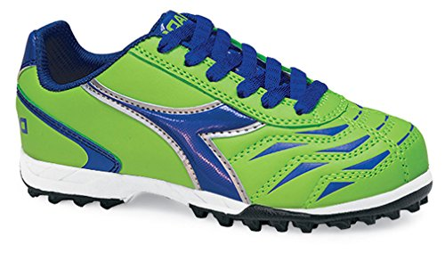Diadora Capitano TF Jr Turf Soccer Shoe (5 M US Big Kid, Lime/Royal)