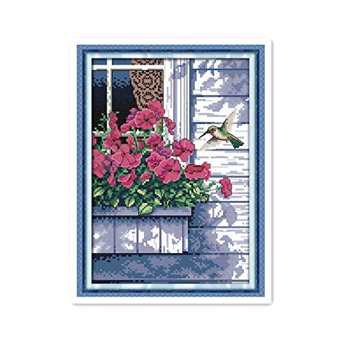 - Enchantee Flowers Outside The Window and The Cross-Stitch Pattern of Hummingbirds, Sunny and Beautiful Scenery Handmade Embroidery Gifts