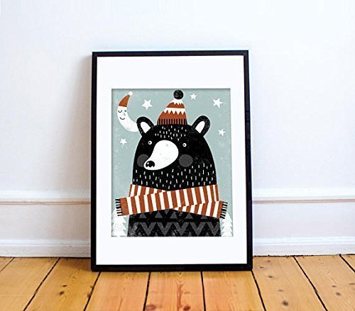 BEAR-BEAR Print // Bear Wall Art // Bear Print // Bear Illustration // Mountain Baby Nursery // Winter Baby Nursery