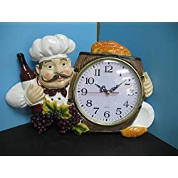 3D Italian FAT French chef WALL Clock BISTRO Kitchen NEW Decor bar set waiter.