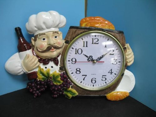 3D Italian FAT French chef WALL Clock BISTRO Kitchen NEW Decor bar set waiter. - Wine Toscana French