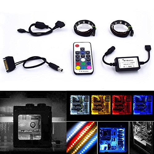 Computer-Magnetic-LED-Strip-Kit---Easy-to-be-Fixed-on-You-PC-Case-by-Powerful-Magnet---Super-Bright-RGB-2pcs-12inch-LED-Strip-Light-with-Multi-Function-RF-Remote-for-Desktop-PC-Computer-Mid-Tower-Case