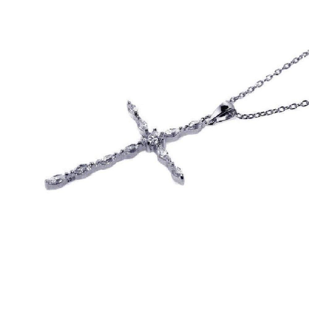 SURANO DESIGN JEWELRY Sterling Silver Necklace w//CZ Stones Cross Pendant