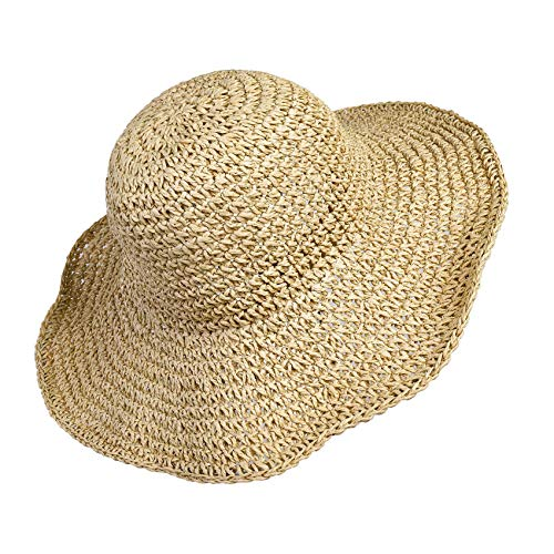 Women Straw Hat Wide Brim Beach Sun Cap Foldable Large Lady Floppy 100% Natural Paper Braided for Travel Decoration Summer Vacation Soft Lightweight and Breathable ()