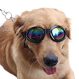 Pet Glasses Dog Sunglasses Dog Glasses Golden Retriever Samoyed Sunglasses Goggles Big Dog Sunglasses (Black)