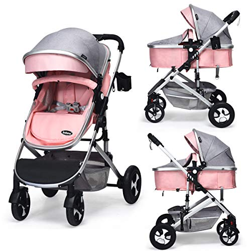 INFANS Baby Stroller for Newborn, 2 in 1 High Landscape Convertible Reversible Bassinet Pram for Infant & Toddler, Foldable Aluminum Alloy Pushchair with Adjustable Backrest, 3D Suspension (Pink)