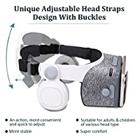 """ETVR Upgraded Virtual Reality Headset VR Glasses for 3D Movies and Games with Stereo Headphones and Adjustable Straps - More Lighter VR Headset for Kids Adults Fit 4.7""""-6.2"""" iPhone Android Smartphones from ETVR"""