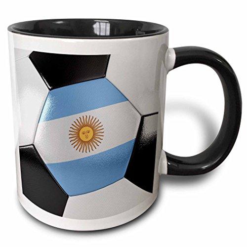 3dRose Argentina Soccer Ball Two Tone Mug, Black, 11 oz by 3dRose