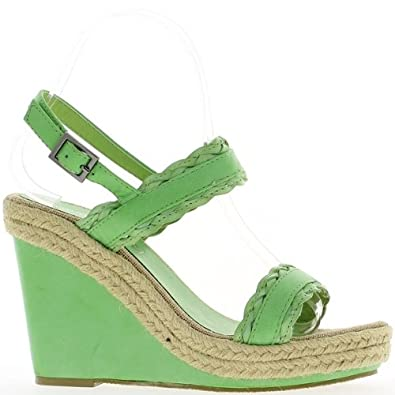 Sandales compensées vertes 6saSM