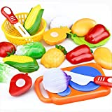 Yusealia 12Pcs/Set Cutting Fruit Vegetable Pretend Play House Toy Kids Educational Toy, Intellectual Development Brain Game Home Decor Toy Gift For Children (12 Pcs/Set)