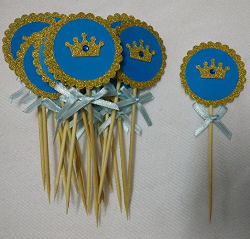 20 Pack Blue and Gold Glitter Crown Cupcake Toppers with Crystal and Blue Bow for Prince Boys Kids Babies Birthday Party Baby Shower Party Brial Shower Wedding Decorations