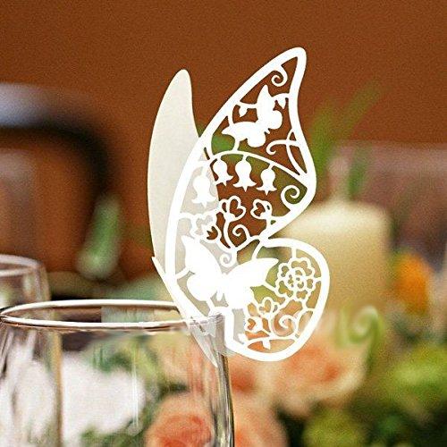 Popolare 100 farfalle Segnaposto segna bicchiere BIANCA PERLATA bomboniera  LX45
