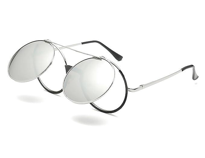 Bmeigo Gafas de Sol Hombre Mujer Steampunk Estilo Retro Flip Up círculo metálico redondo Lentes Unisex UV400 Protección