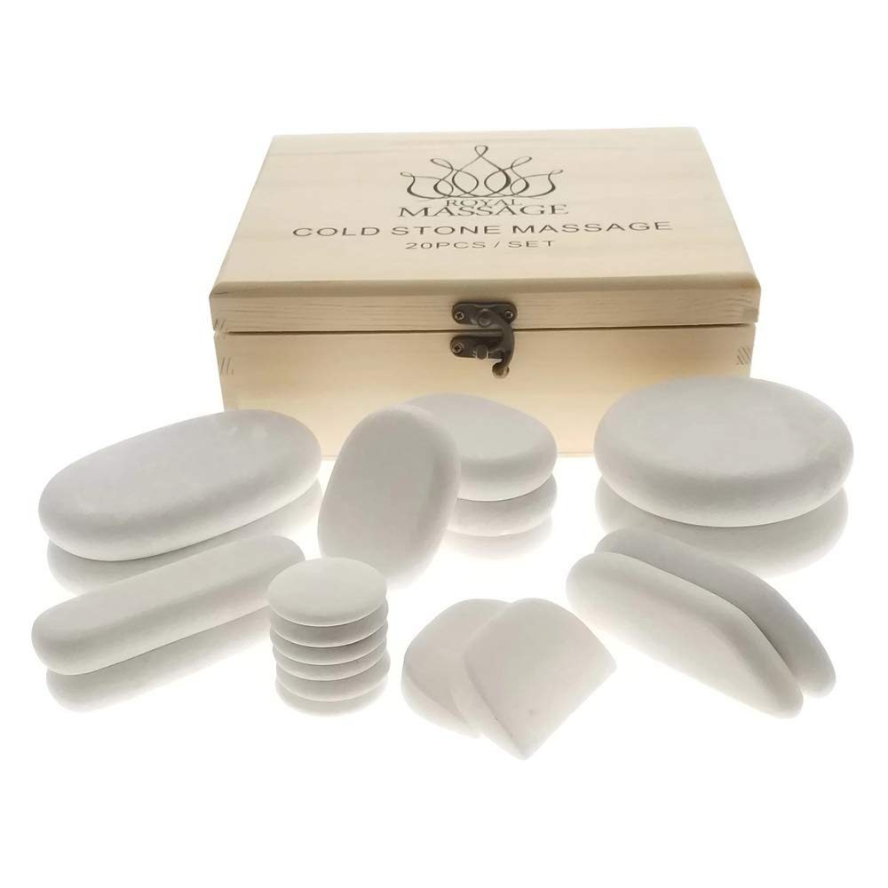 Royal Massage  20pc Massage Marble Cold Stone Therapy Set with Bamboo Case by Royal Massage (Image #2)