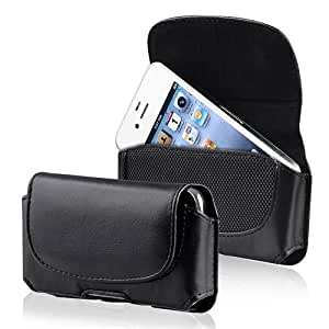 PCMicrostore Apple iPhone Black Leather Texture Horizontal Holster Carrying Case With Belt Loop And Clip