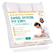 "Ultra-Soft Waterproof Changing Pad Liners [3 Pack] - Made of Cozy Bamboo Fabric - 4 Thick Layers - Washer/Dryer Friendly - Large 14"" x 27"" Surface for Best Protection"