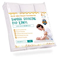Ultra-Soft Waterproof Changing Pad Liners [3 Pack] - Made of Bamboo Fabric - ...