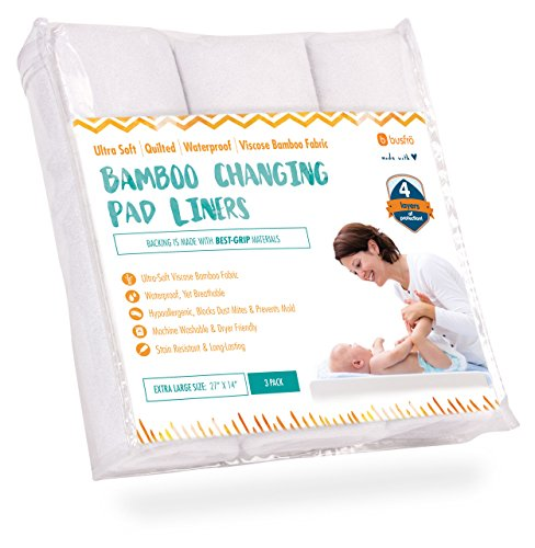 Ultra-Soft-Waterproof-Changing-Pad-Liners-3-Pack-Made-of-Bamboo-Fabric-4-Thick-Layers-of-Protection-WasherDryer-Friendly-Extra-Large-27-x-14-Surface