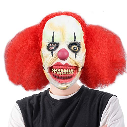 Halloween Horrific Demon Adult Scary Clown Cosplay Props Devil Flame Zombie Mask (Red Haired Clown)