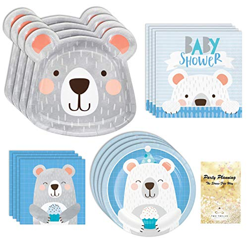 Baby Shower Party Supplies, Blue Bear Boy Design, 16 Guests, 65 Pieces, Disposable Paper Dinnerware, Plate and Napkin Set -