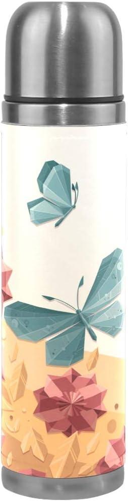 BEUSS Linda Mariposa De Cristal Botella de Agua Frasco de Vacío Aislamiento de Acero Inoxidable Termo de Embalaje de Cuero a Prueba de Fugas Termica Botella (500 ml)
