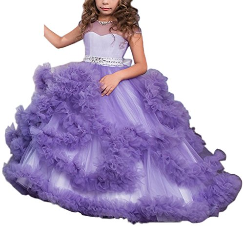 Stunning V-Back Luxury Pageant Tulle Ball Gowns for Girls 2-12 Year Old Purple,Size 10]()