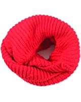 Women 2 Circle Cable Knit Cowl Neck Long Scarf Shawl Red