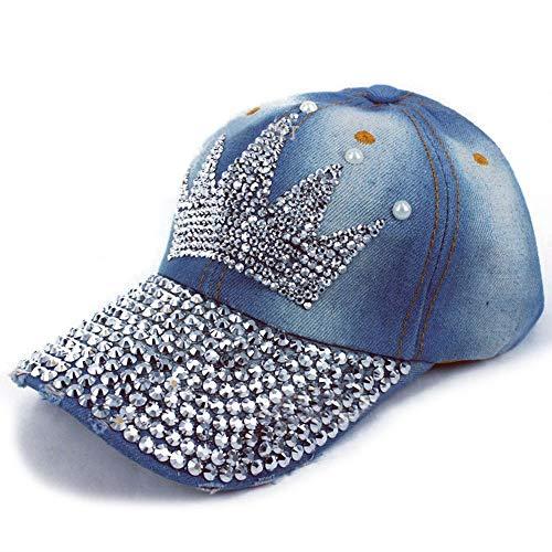 Fashion Hot Diamond Cowboy Hat Point Drill Hat Adjustable Sports Cap Crown Diamond Rhinestone Embroidery Female Baseball Cap (Color : Denim Color)