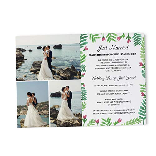 Nothing Fancy Just Love Elopement Wedding Announcement Cards - Marriage Reception Invitation - We Eloped Party Invites - Custom, Personalized, Unique Card Stock - Simple Elegant Theme Design (Announcements Wedding Elopement)