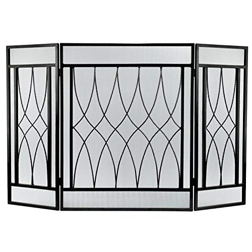 3 Panel Fireplace Screen Fire Place Doors, Wrought Iron Classic Fire Place Gate Screens, Rustic Worn Finish Mesh Indoor Large Flat Guard Home Decor Gas Stove Accessories