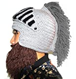 cafb496505e2a6 BIBITIME Cosplay Roman Knight Knitted Helmet with Beard Tassel Hat Visor  Beanie Mask Winter Ski Sports