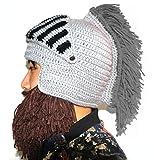BIBITIME Cosplay Roman Knight Knitted Helmet with Beard Tassel Hat Visor Beanie Mask Winter Ski Sports Warmer Cap (Brown Beard Grey Tassel, One Size)