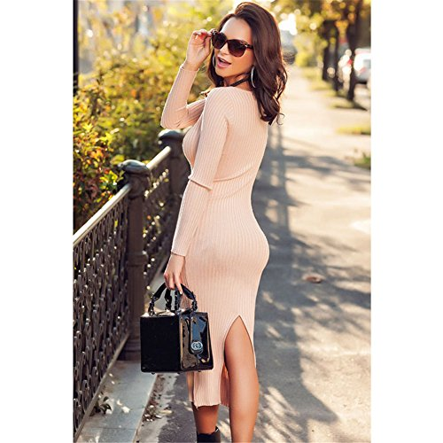 Light pink Ribbed Bodycon Long Sleeve Back Slit Sweater Dress