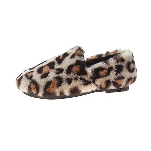 Pisos De Mujer Zapatos Hechos A Mano Mocasines Invierno Punta Redonda Estampado Leopardo DecoracióN Fleeces Flock Slip-On Calzado De TacóN Bajo: Amazon.es: ...