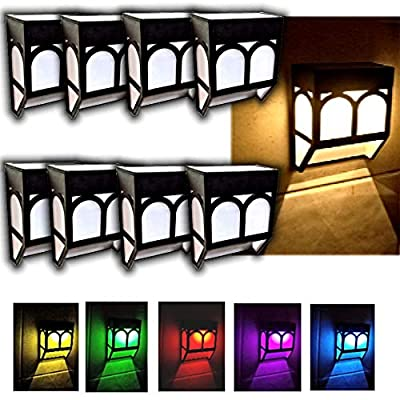 Brilliant & Mo Pack of 8 Solar Wall Lights Outdoor, 2 Modes SMD 2 LED Waterproof Lighting for Deck, Fence, Patio, Front Door, Stair, Landscape, Yard and Driveway Path,Warm White/Color Changing
