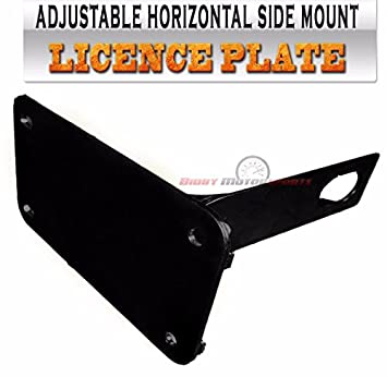 Motorcycle Side Mount License Plate Bracket Horizontal Black 1\u0026quot; ...  sc 1 st  Amazon.com : motorcycle l plate holder - pezcame.com