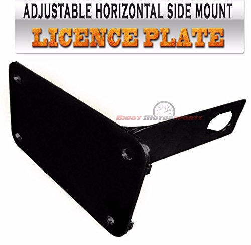 Side Mount Axle - Motorcycle Side Mount License Plate Bracket Horizontal Black 1