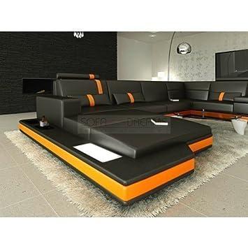 Mega Wohnlandschaft Messana U Form Schwarz Orange Sofa Eckcouch Mit
