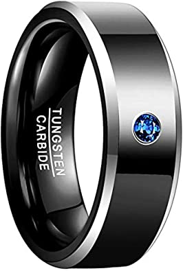 VAKKI 8mm Mens Abalone Shell and Blue Cubic Zirconia Inlay Tungsten Rings Black Wedding Bands Beveled Edge Size 7-12