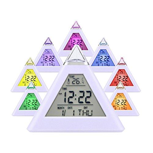 Alarm Clock, Queseen Wake Up Light Alarm Clock 7 LED Color Change Pyramid Travel Alarm Clock with Calendar,Temperature, Alarm and Sleeping Function …