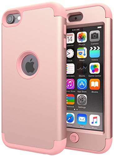 SLMY 4326521808 iPod Touch 6 Case,iPod Touch 5 Case,(TM) Heavy Duty High Impact Armor Case Cover Protective Case for Apple iPod Touch 5 6th Generation (Rose Gold) (Touch Case Ipod Gold)